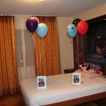dining room folds out into a bed,left baloons and notes for the kids b'days