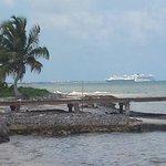 Maya Chan Beach view of cruise ships docked