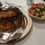 Chicken Sandwich with Tomato/Cucumber Salad