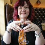 Enjoying a glass of Merlot before the starters arrive!!