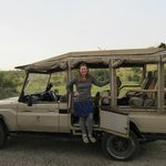 me and the safari vehicle - so comfy!