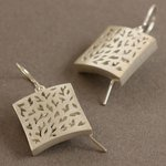 Hollow built brushed silver earrings with cut-outs