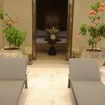 Inner garden and chaises-longues at Villa 23 at Amanjiwo Hotel in Borobudur