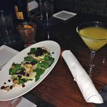 Wilted spinach salad and number six cocktail