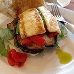 My vegetarian panini...red capsicum, haloumi, aubergine and pesto...delicious!