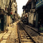 Businesses along rail line in Hanoi