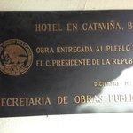 Commemoration plaque at Hotel entrance