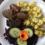 3 celebratory sausages with fragrant cabbage..again a heritage dish.