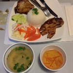 Grilled pork chop with broken steamed rice