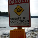 danger sign found after we'd be walking on the ice!