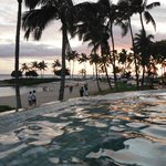 New infinity pool during sunset