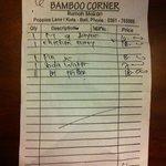 The bill 2 courses plus drinks $6.10 AU