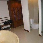 Toilet and shower in bath area near front door