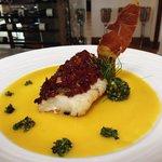 pan-fried cod with champagne-orange glaze and sundried tomatos