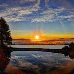 Sonnenuntergang am Almsee