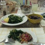 """sauteed """"kale"""" olives, and an amazing barley and cold bean mixture"""