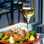 Chopped Salad with Chicken and Glass of Wine