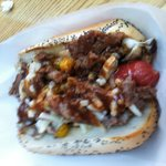 Philly cheese steak dog