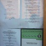 Menu with 5 star Hygiene rating