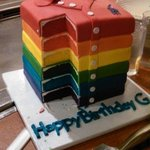 A stack of polo shirts cake