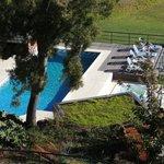 Vista da piscina, aquecida.