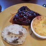 BBQ Steak, corn pudding, mashed potatoes
