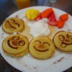 Happy, and delicious, pancakes for breakfast (complimentary)