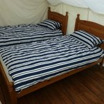 Single beds with feather duvet and cotton sheets