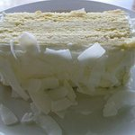 Lemon, Passionfruit and Creamcheese layered Sponge with Coconut Flakes