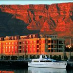 Cape Grace Hotel by the Harbor and Table Mountain in Cape Town South Africa