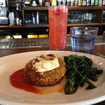 Chickpea Cake with Grilled Halloumi and a Raspberry Collins