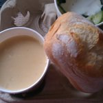 parsnip/pear soup with cucumber salad