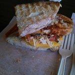 Tilapia with mango salsa sandwich, fantastic!