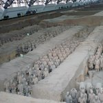 Thousands of full size terracotta soldiers in pits