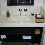 Bathroom with fresh flower (room 101, suite)