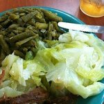 Southern style veggies: green beans, cabbage and pot roast.
