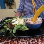 Fish with orange sauce and malanga