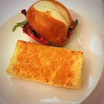 Beef sandwich and cheese sandwich