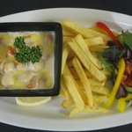 Queen Scallops(landed at Kirkcudbright harbour) in white wine,garlic and cream