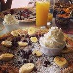 Delicious pancakes and fresh squeezed orange juice!