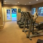 Fitness center next to pool