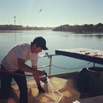 Captain Kyle cleaning and cutting this days catch.