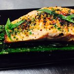 King salmon and grilled baby asparagus