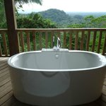 Kohler soaking tub on Ridge Suite private balcony