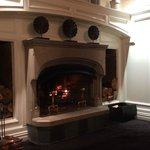Warm fireplace in the lobby
