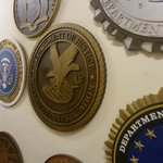 "Wall of various federal symbols used in ""The West Wing"" series"