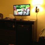 Frigobar, microondas e TV de LCD