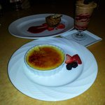 creme brulee, mousse, and another chocolate dessert