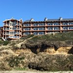 View of hotel from the beach.