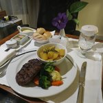 Nice Steak at in room dining on my tried 1st day of arrival